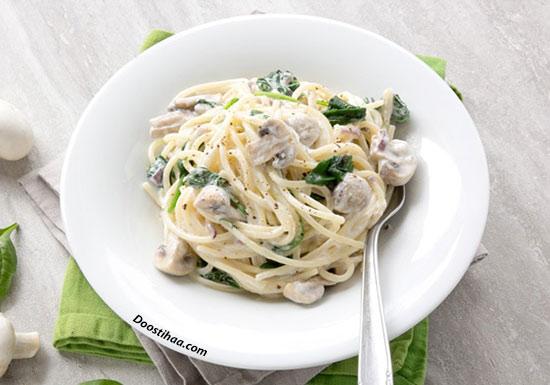 طرز تهیه اسپاگتی با سس سیر و قارچ