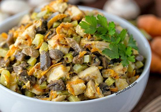 طرز تهیه سالاد مرغ و قارچ