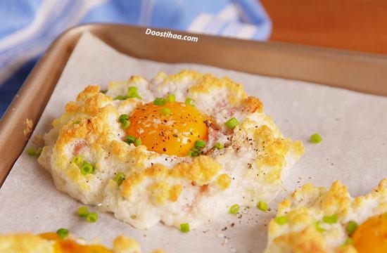 طرز تهیه تخم مرغ ابری پنیری